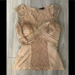 Bebe silk/lace beaded shoulder top